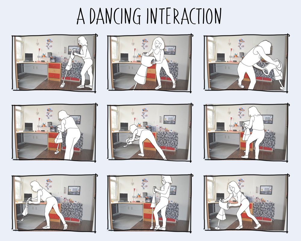 scenario of a dancing interaction with a vacuum cleaner